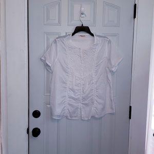 Nymphaea Alba white cotton top XL